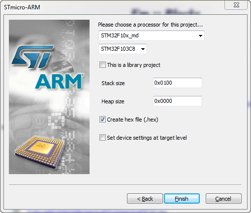 STM32 CPU selection
